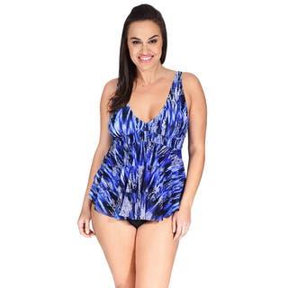 Mazu Swim Mesh Triple Tier Women's Plus Size Tankini Top|https://ak1.ostkcdn.com/images/products/14769110/P21292246.jpg?impolicy=medium