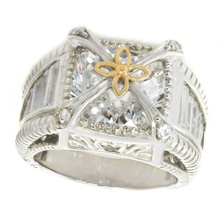Michael Valitutti Sterling Silver Cushion And Baguette Cubic Zirconia Four Row Ring