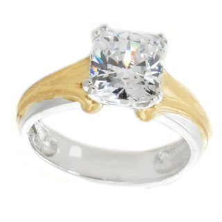 Michael Valitutti Sterling Silver Cushion Cubic Zirconia Ring