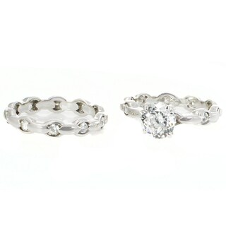 Michael Valitutti Sterling Silver Set of Two Cubic Zirconia Stacking Ring