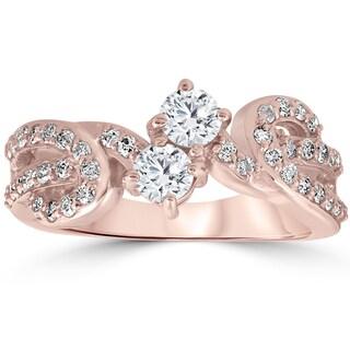 10k Rose Gold 1 ct TDW Forever Us 2-Stone Diamond Engagement Two Stone Ring