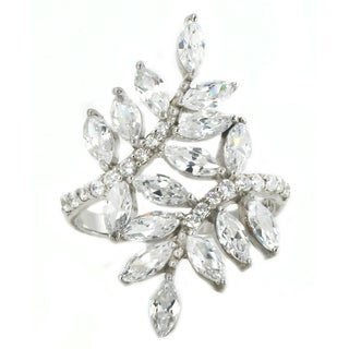 Michael Valitutti Sterling Silver Marquise Tree Leaves Cubic Zirconia Ring