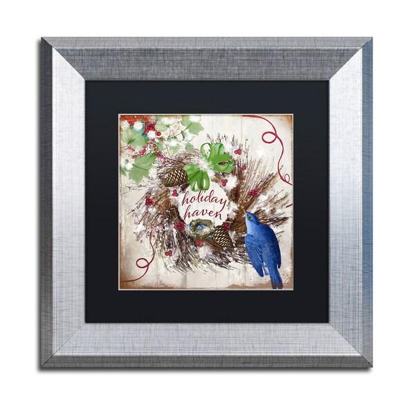 Color Bakery 'Bluebird Christmas II' Matted Framed Art
