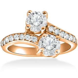 14k Rose Gold 2ct TDW Forever Us 2-Stone Diamond Engagement Ring (More options available)