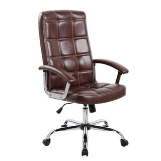 Executive Brown Faux Leather and Chrome High Back Office Task Chair
