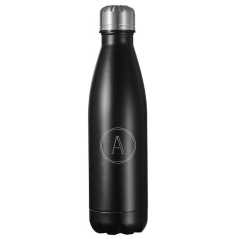 Visol Marina Black Matte Insulated Water Bottle 16oz with Engraved Initial