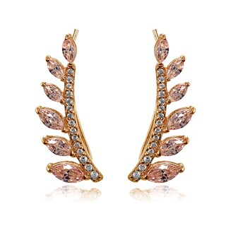 Icz Stonez 18k Rose Gold Over Silver Simulated Morganite Leaf Climber Crawler Earrings