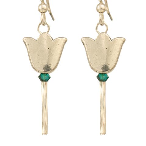 Handmade Whimsical Goldtone or Silvertone Tulip Earrings with Green or Clear Crystal (USA)