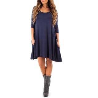 Rags and Couture Women's Long Sleeve Cross Back Dress with Pockets