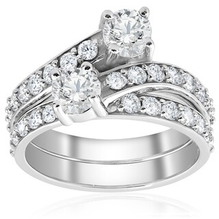 10k White Gold 2CT TDW 10K White Gold Diamond 2 Stone Engagement Ring Wedding Band Set