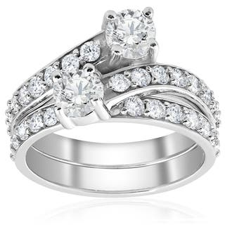10k White Gold 2CT TDW 10K Diamond 2 Stone Engagement Ring Wedding Band Set