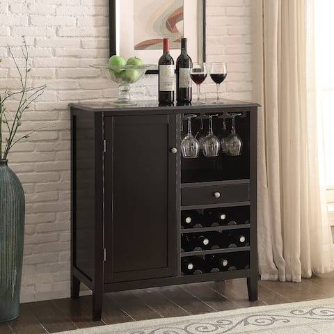 Porch & Den Kollman 36-inch Black 12-bottle Wine Storage Cabinet