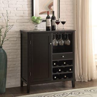 Porch & Den Kollman 36-inch Black 12-bottle Wine Storage Cabinet