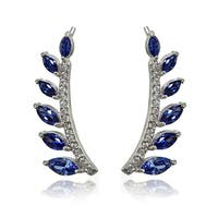 Icz Stonez Sterling Silver Simulated Tanzanite and Cubic Zirconia Leaf Climber Crawler Earrings