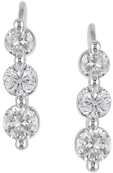 Miadora 14k White Gold 1ct TDW Round Diamond Earrings