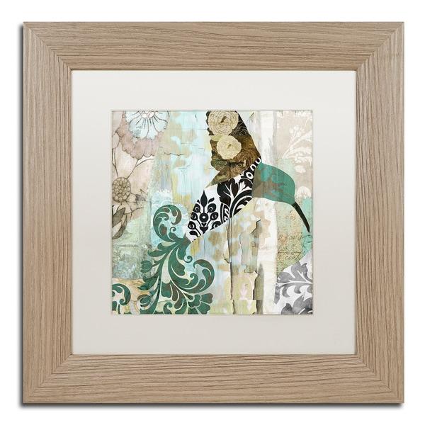 Color Bakery 'Hummingbird Batik I' Matted Framed Art - Off-White