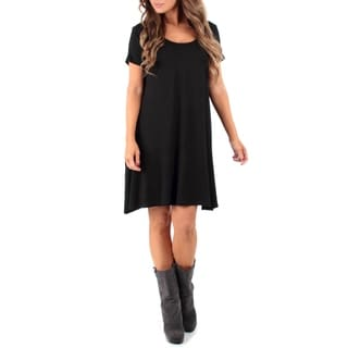 Rags and Couture Women's Short Sleeve Cross Back Dress with Pockets