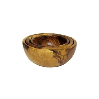 "Olive Wood Nesting Bowls, Series of 3 (7"") by Le Souk Olivique"