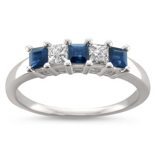 Montebello Jewelry 14k White Gold 5/8ct TGW White Blue Sapphire and Diamond Wedding Band