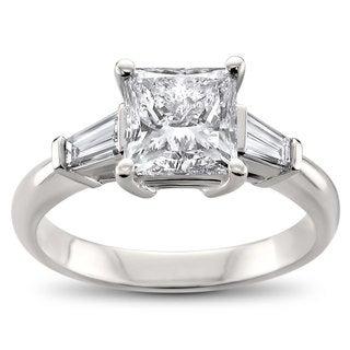 Montebello Jewelry 14k White Gold 2.5ct TDW Certified Three Stone Diamond Engagement Ring