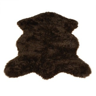 "Brown Bear Pelt Faux Fur Rug (5' x 7') - 4'7"" x 6'7"" Pelt"