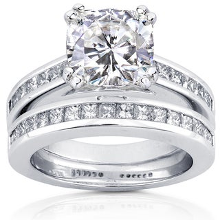 Annello by Kobelli 14k White Gold 3ct TGW Moissanite and Diamond Princess Channel Bands Bridal Rings Set