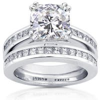 Annello by Kobelli 14k White Gold 3ct TGW Moissanite (HI) and Diamond Princess Channel Bands Bridal