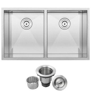 """32"""" Ticor S3550 Pacific Series 16-Gauge Stainless Steel Undermount Double Basin Zero Radius Kitchen Sink"""