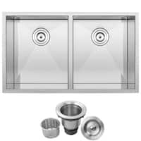 "32"" Ticor S3550 Pacific Series 16-Gauge Stainless Steel Undermount Double Basin Zero Radius Kitchen Sink"