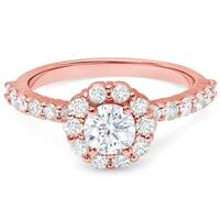 LeZari & Co. 14k Gold 1 2/5ct TDW White Diamond Floral Halo Engagement Ring
