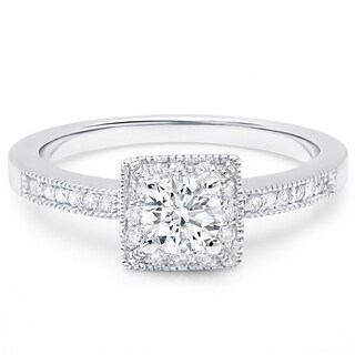 LeZari & Co 14k Gold 5/8ct TDW Square Princess Halo, Pave set round Diamond Engagement Ring (H-I, I1-I2)