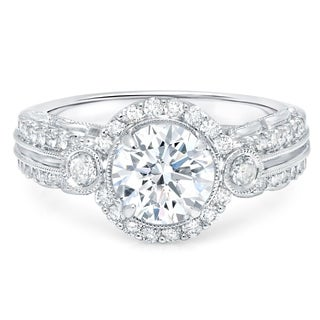 LeZari & Co. 18k White Gold 2ct TDW White Diamond Certified Halo Split Shank Engagement Ring