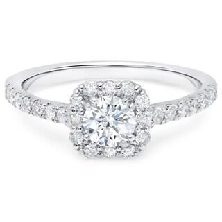 LeZari & Co. 14K Gold. 7/8ct TDW Cushion Halo, U Pave, Round Diamond Engagement Rings (H-I, I1-I2)