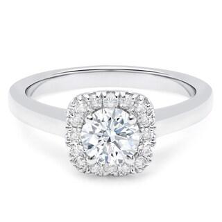 14K Gold 7/8ct TDW Cushion Halo Engagement Ring (H-I, I1-I2) - White
