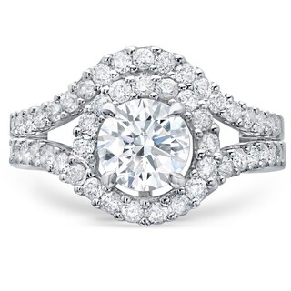 LeZari & Co. 14k White Gold 2ct TDW White Diamond Halo Twist Shank Bridal Set