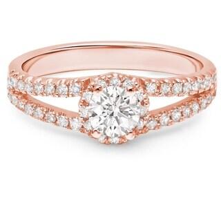 LeZari & Co. 14k Gold 5/8ct TDW White Diamond Split Shank Halo Engagement Ring