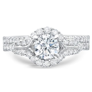 LeZari & Co 18K White Gold 1 1/2 ct TDW Round Certified Center Diamond, U Pave, Halo, Bridal Ring (SI2-I1, G-H)
