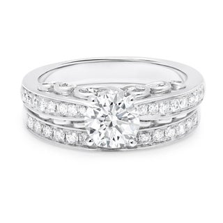 LeZari & Co. 14k White Gold 1 3/ 5ct TDW Certified Diamond Bridal Ring Set (H-I, I1-I2)