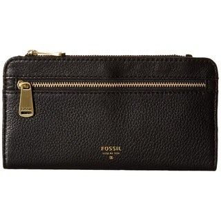 Fossil Preston Black Leather Zip Clutch Wallet