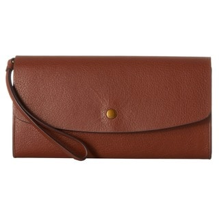 Fossil Haven Brown Leather Large Triple Gusset Flap Clutch Wallet