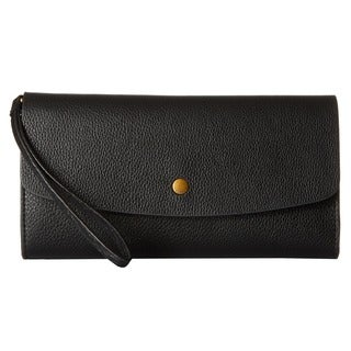 Fossil Haven Black Leather Large Triple Gusset Flap Clutch Wallet