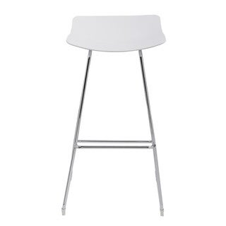 Emerald Home Neo Bright White No Back Bar Height Barstool-2pk