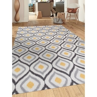 Modern Moroccan Design Grey/Yellow Nylon Nonslip Area Rug (5' 3 x 7' 3)
