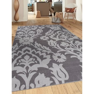 Modern Transitional Grey Damask Non-slip (Non-skid) Area Rug (5'3 x 7'3)