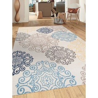Cream Modern Floral Swirl Design Nonslip/Nonskid Area Rug (5'3 x 7'3)