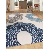 Contemporary Blue Large Floral Non-slip (Non-skid) Area Rug (5'3 x 7'3) - 5'3 x 7'3