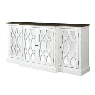 "Emerald Home Mountain Retreat 78"" W/Mirror White Accent Cabinet"
