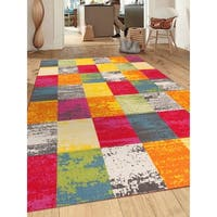Multicolored Contemporary Modern Boxes Non-slip Non-skid Area Rug (5'3 x 7'3) - 5'3 x 7'3