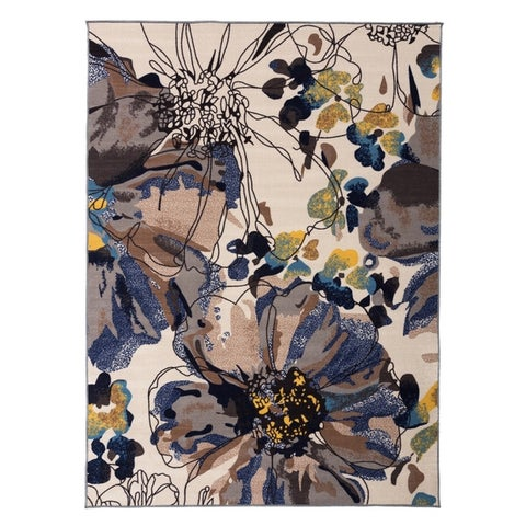 Modern Bright Flowers Non-Slip Area Rug Multi