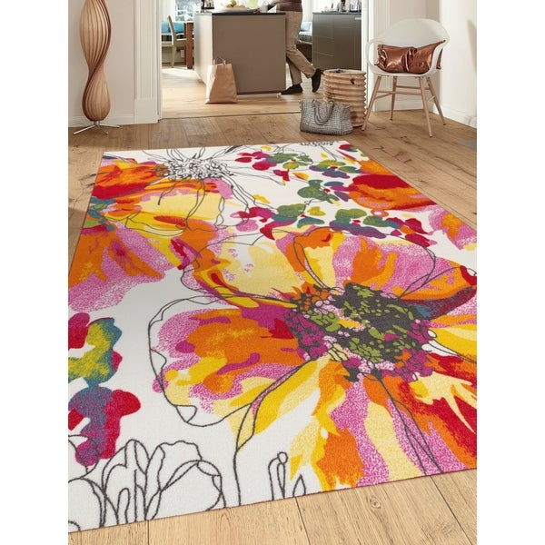 modern bright flowers non slip non skid area rug multi 5 39 3 x 7 39 3 free shipping today. Black Bedroom Furniture Sets. Home Design Ideas